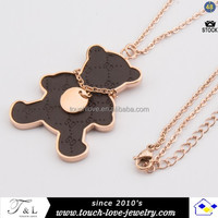 high quality stainless steel bear necklace