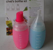2015 promotion silicone milk bottle with barbucue brush for cake decorating tool