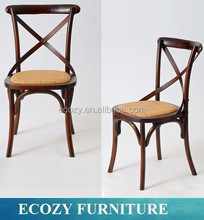French Provincial Farmhouse dark walnut cafe kitchen dining chair with cross back