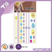 fluorescent print tattoo sticker,Neck stickers,temporary metallic jewelry