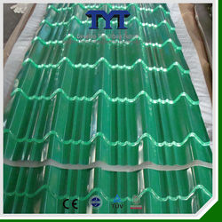 Polyster coated 980mm green zinc coated steel roof tile/good kerala prices metal roof tile