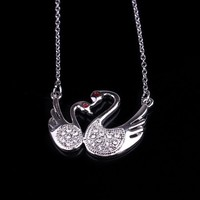 Hot Sell 2015 New Products Gift Fashion Animal Jewellery White Gold Swan Necklace, Mother and Child Sculptures