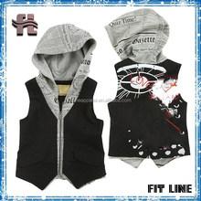 fashione children vest, children hooded vest, zipper children waistcoat