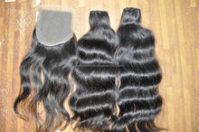 100% Virgin Human Hair/Natural Virgin Human hair Machine weft wavy hair