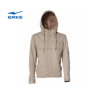 ERKE mens casual full zip up windproof polyester cotton hoodie windbreaker coats with hoodie blue/khak in stock/available