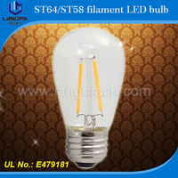 Langma 2015 NEW & HOT!!! 6w 650lm China supplier high lumen 360degree/b22/E27 ST64 led filament vintage/edison bulbs