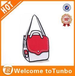 2014 lady fashion 3D cartoon bag paper bag handbag messenger bag