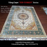 170x245cm white green handknotted silk nain rug for sale