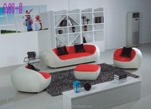 leather sofa Red color living room modern design sofa furniture factory price 0414-A01-1
