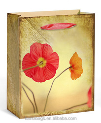 Red flower paper bags for shops paper bag custom printing manufactures