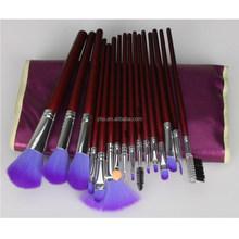 Purple 16pcs Makeup Brushes Set Kit with Purple Fold Leather case