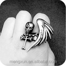 Punk gothic monoplane wing skeleton cross wind ring personality The adjustable 8 g restoring ancient ways rings
