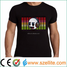 How cool sound active party DJ musical led t shirt led lighted t shirt