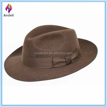 High Quality Hand Made Gents Fedora, Felt Trilby Hat With Wider Brim 100% Wool NEW
