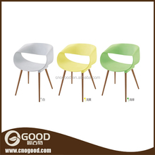 Garden PP Chair Plastic Dining Chair with Wood Leg