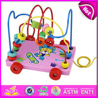 2015 New kids wooden maze toy, Top Quality children Animal String bead toys, Mini First Bead baby wooden maze W11B018