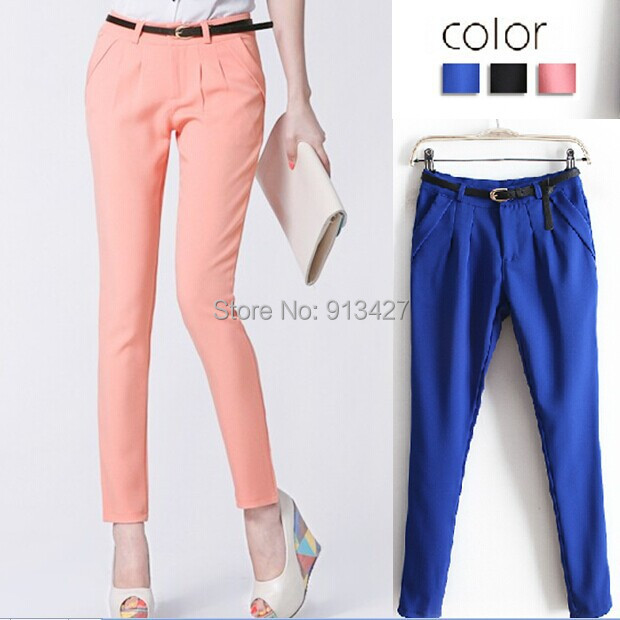 2017 2015 Summer Office Lady Formal Dress Pants Female Solid Color ...