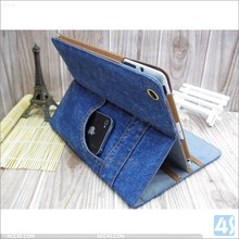 Cowboy Pants Style Leather Cover Case for iPad Mini 3 Gears and Credit Card Slots