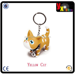 Cute Yellow Cat with Bell Key Chains Keychain DDStore/bulb led light chain lantern paper