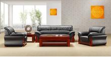 2015 Hot Sale office furniture Teak wood genuine leather sofa(HY-S807)