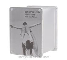 4 sided acrylic magnetic photo frame pen holder