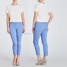 Oem apparel offering 3/4 length capri trousers fashion ladies office pants