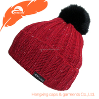 Maroon And Black Pom Mix Color Infant/Ladies Winter Beanie Hats Cable Knit Hat