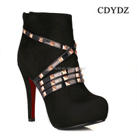 CDYDZ Y85 Black fashion matte leather belt staggered rivet waterproof zipper high-heeled ankle boots for Women