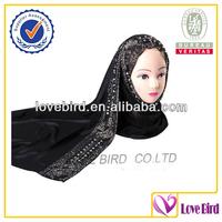 Crystal muslim women silk islamic scarf