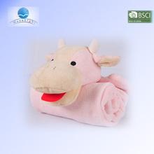 alibaba china hot selling 100% polyester animal pillow blanket