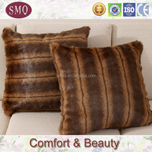 yellow and brown stripe color suqare faux fur pillow cover with eco-friendly material