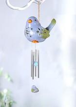Bird shaped ceramic bell with garden solar LED light