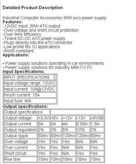 90W Pico DC-DC Converter Pico Power Supply for Industrial PC ...