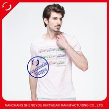 Wholesale o-neck organic cotton printed men t shirts