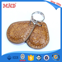 MDK128 NFC NTAG213 leather key fobs rings wholesale