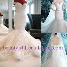 2015 New Style Luxury Beaded Sweetheart Nackline Off-shoulder Mermaid Lace wedding dress bridal dresses ZS021 from china