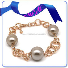 hot sell second hand unit price of 24k gold freshwater pearl bracelet