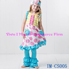 Bulk Wholesale Kids Clothing Sets Persnickety Remake Children Pink Polka Dot Dress with Ruffle Pant Boutique Outfit IM-CS005