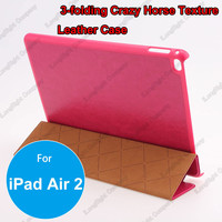 Ultra-thin 3 Folding Stand PU Leather Case For iPad Air 2