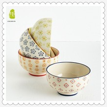 Handpainted round ceramic bowl with printing