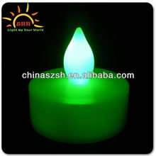 Halloween item green color LED light up flashing plastic candle