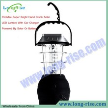 Portable Super Bright Hand Crank Solar LED Camping Lantern With Car Charger Powered By Solar Or Battery
