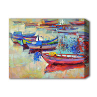 Abstract landscape boat art painting big wall painting