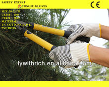 cotton knitted gloves one side PVC dotted 650g/700g/750g