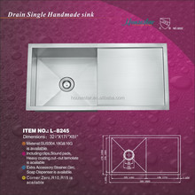 "Zero Radius Handmade Stainless Steel Sink with drain board 32 1/4""X17 3/4""X8 5/8"" (cUPC Approved!) L-8245"