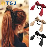 Autumn style hair jewelry Women Tiara Satin Ribbon Scrunchie Ponytail Bow Hair Band