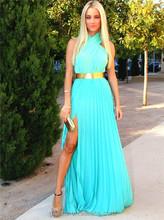 Vestido De Festa 2015 Fashion Women Pleated Maxi Chiffon Dress Sleeveless Halter Split Long Evening Party Dress Blue Beach Dress