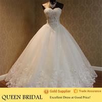 Sweetheart Beading Ball Gown Arabic Wedding Dress Patterns 2015
