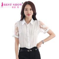 2015 New Arrivals Fashion Summer Style Blusas Femininas Short Sleeve Organza Patchwork Striped Chiffon Work Women Blouse 1851