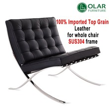 modern designer leather + stainless steel barcelona lounge chair